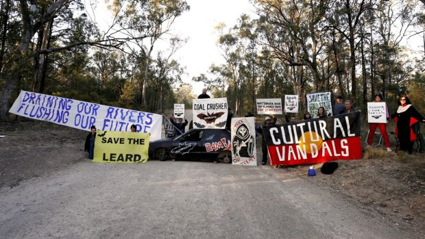 A protest at Maules Creek coalmine earlier this month.