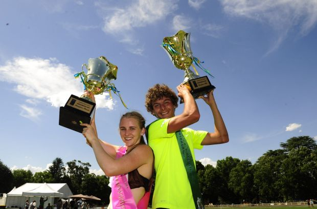 rom left, Brittany Brymer winner of the 2014 Queanbeyan Women's Gift Final and Thomas Newman winner of the Men's Gift Final.
