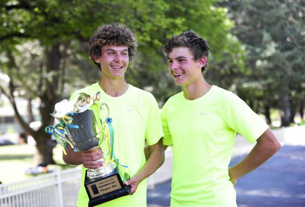 From left, Thomas Newman winner of the Gift Men's Final with his twin brother, Jack Newman, placing second.