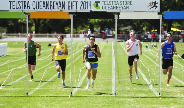 Competing in the 2014 Queanbeyan Youth Gift Male Final at Queanbeyan Park are from left,  Aaron Pengelly, Nathan Mcnab, ...