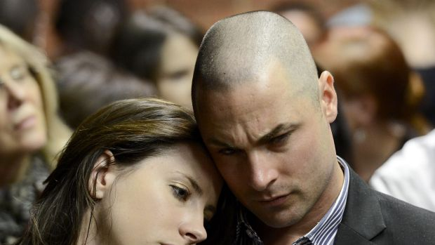 Carl Pistorius and Aimee Pistorius during their brother's trial.
