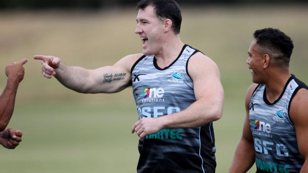 Paul Gallen returns to Sharks training after drugs ban.