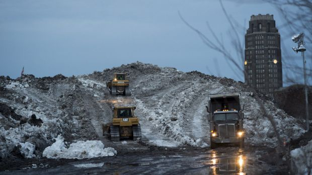 Clearing: Snow from around Buffalo is packed into a hill at the Buffalo Central Terminal.