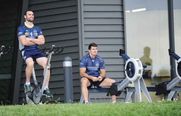 From left, Scott Fardy and Sean Doyle during Brumbies training at HQ, Bruce.