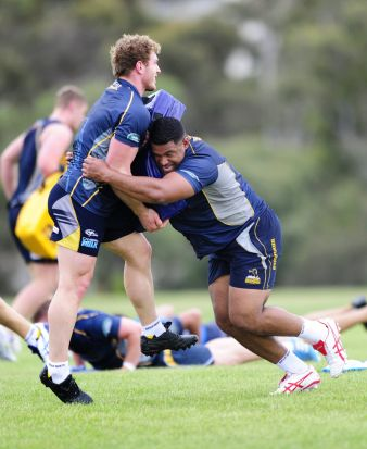 From left, David Pocock and Scott Sio during Brumbies training at HQ, Bruce.