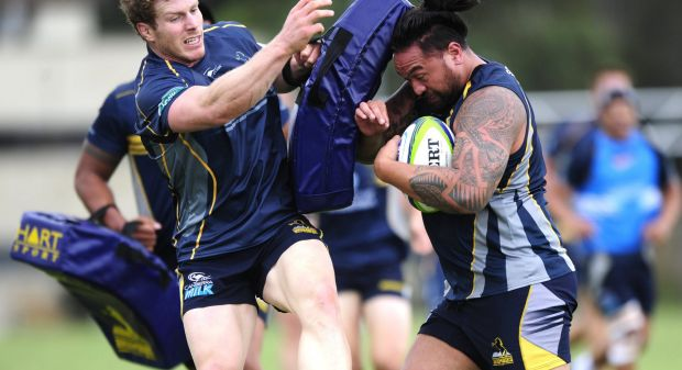 From left, David Pocock and Fotu Auelua during Brumbies training at HQ, Bruce.