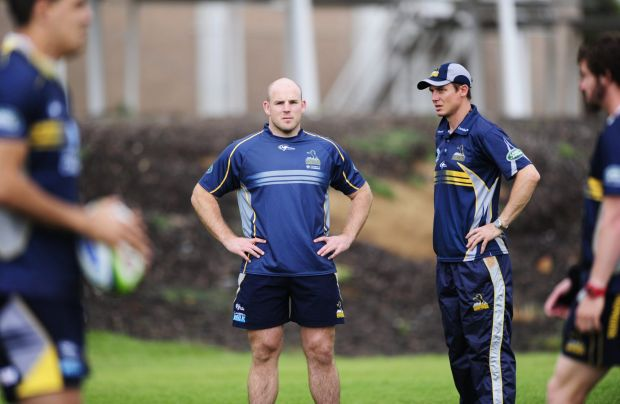 From left, Stephen Moore and Brumbies coach Stephen Larkham during Brumbies training at HQ, Bruce.