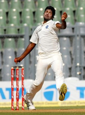 Dangerous and thrilling: India's Varun Aaron made an impact in his first three spells.