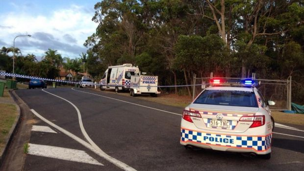 Officers at the scene of a Gold Coast police shooting on Monday night.