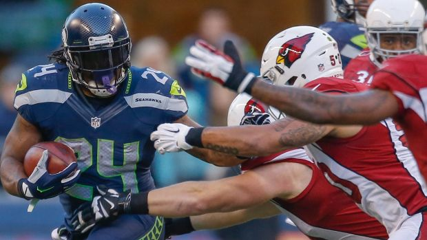 Actions speak louder than words: Running back Marshawn Lynch for the Seahawks against the Cardinals.