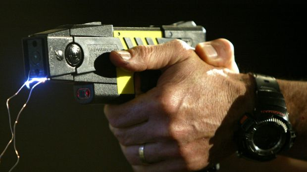 A man is in hospital after he was stunned by a Taser.