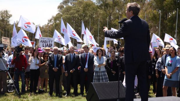 Opposition Leader Bill Shorten addresses the rally against ABC cuts outside Parliament House.