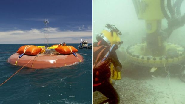 The CETO 5 unit off the coast of Perth (left) and it's installation into the sea floor.