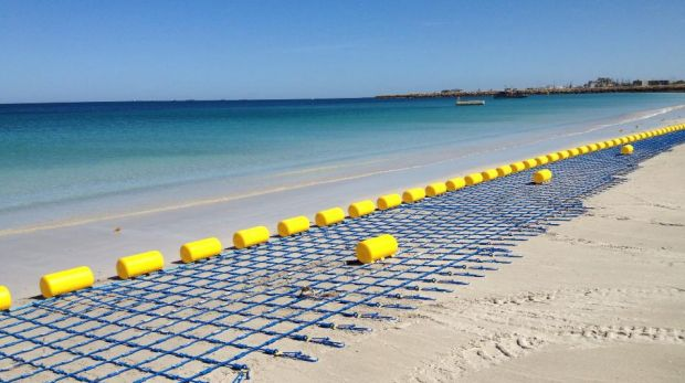 The shark barrier about to be reinstalled at Coogee Beach.