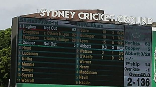 The scoreboard shows Phillip Hughes' 63 not out at the SCG on Tuesday.