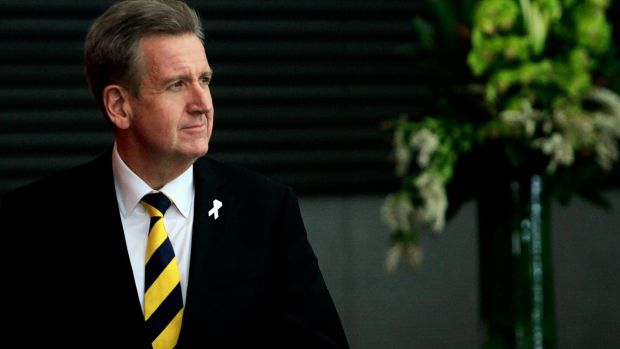 Barry O'Farrell at the ICAC earlier this year: his premiership ended over a bottle of wine.