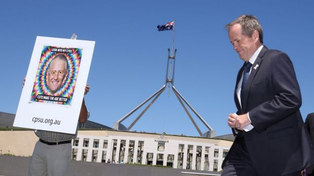 Support: Opposition Leader Bill Shorten at a rally against the cuts at Parliament House.