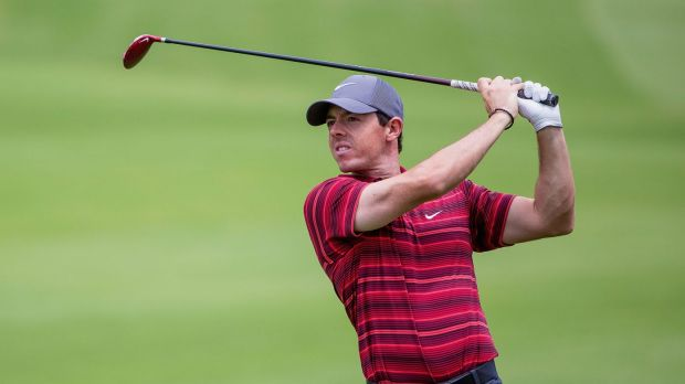Headline act: World No.1 Rory McIlroy gets to grips with The Australian on Tuesday.