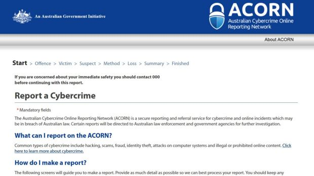 The ACORN website, launched this morning, lets Australians report cybercrime to authorities in real time.