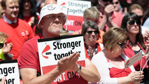 CPSU supporters rally in Canberra last year to protest against low pay offers.