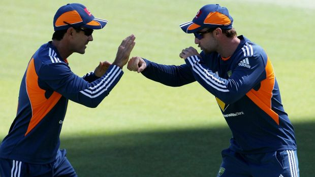 Justin Langer and Phil Hughes working together in the Australian set-up.