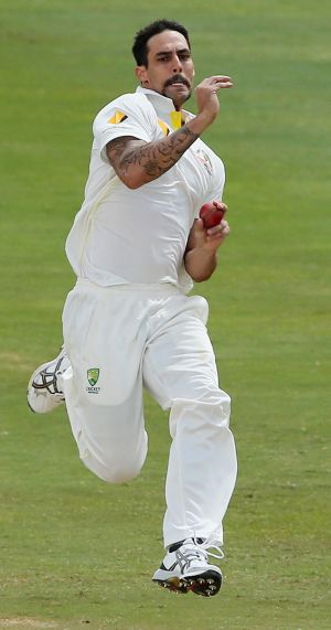 Ready: Mitch Johnson puts fear into batsmen.