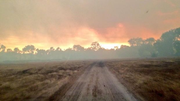 The effect of the fires on the sky as seen from Bindoon.