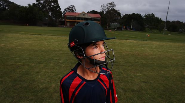 Tom Ison, 11, at training last night with the East Malvern-Tooronga Cricket Club.
