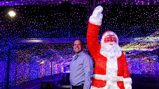 David Richards among the Civic lights in 2014 which took the Guinness World Record for the largest LED light image display.