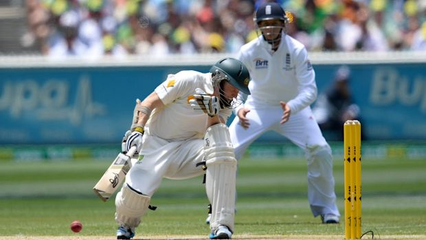 Chris Rogers is hit by a Stuart Broad bouncer during the Boxing Day Test, 2013.