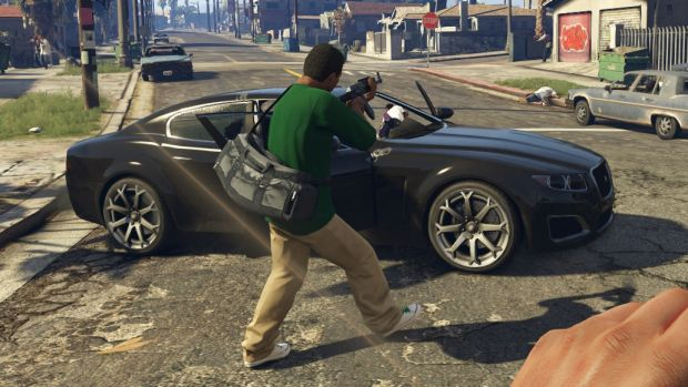 A still from the R-rated video game Grand Theft Auto V.