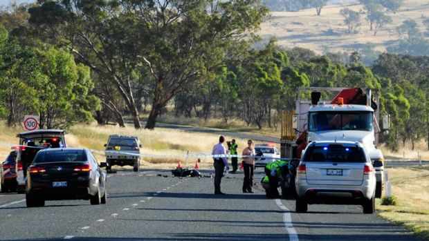 Scene at the  fatal collision on the Monaro Highway involving a motorcycle and truck.