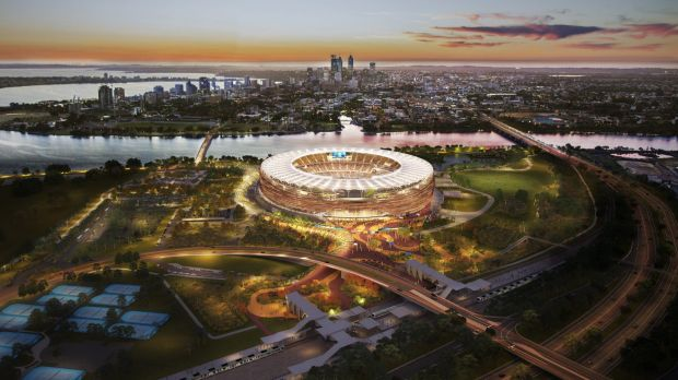 Artist impression of the Burswood stadium which is under construction.