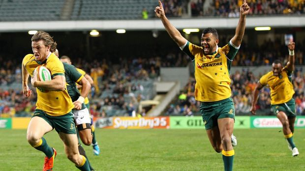 Rob Horne scoring the match-winning try for the Wallabies over South Africa.