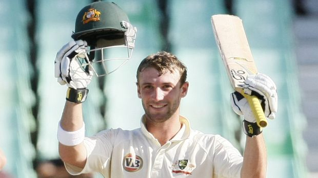 Double tons: Phillip Hughes celebrates after scoring his second Test century at Durban in 2009.