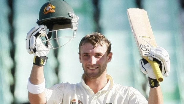 Great talent: Phillip Hughes celebrates after scoring his second Test century at Durban in 2009.