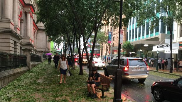 CBD workers begin to venture out onto George Street after the storm.