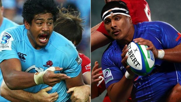 Sibling combo?: Will Skelton in action for the Waratahs (left) and his younger brother Cameron (right) playing for Samoa.