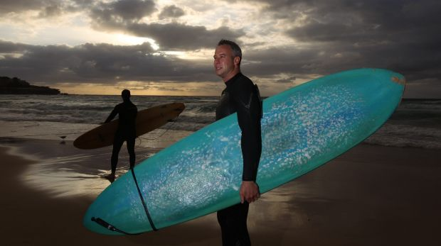Peter Huggins, at Bondi, sees no cause for alarm over sharks.