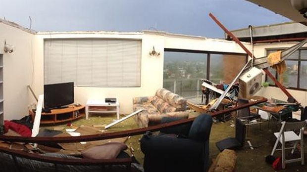The damage done to a Toowong apartment in the storm.