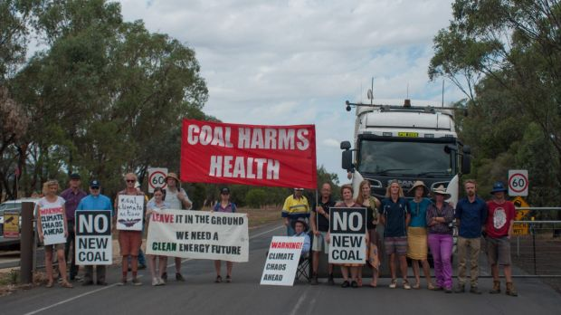 United stand: Protesters at the Gunnedah coal-processing plant on Wednesday.