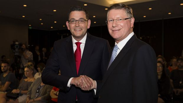 Who will win? Daniel Andrews and Denis Napthine.