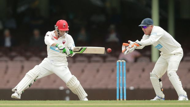 In full flow: Phillip Hughes plays a trademark cut shot during his last innings for South Australia against NSW at the ...