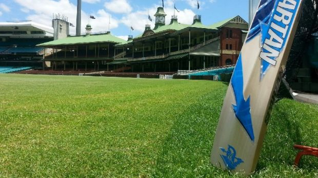 Hallowed ground: A bat rests on the SCG turf.