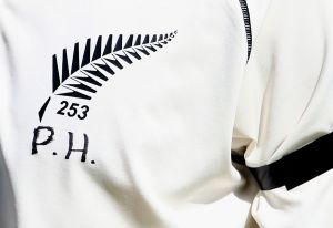 In honour: Brendon McCullum bears the initials of Australian cricketer Phillip Hughes on his shirt during his ...