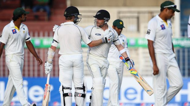 Master blaster: Brendon McCullum is congratulated by Kane Williamson after reaching his century in 78 balls, a New ...