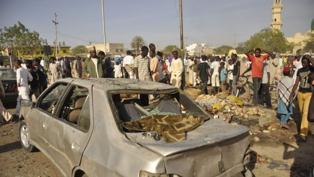 The site of a bomb explosion in Kano.