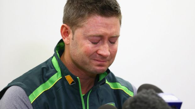 Emotional: Michael Clarke struggled to read the statement.