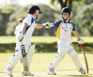 Batsmen for the Ryde Hunters Hill Swashbucklers in their Under 11s game on Saturday.