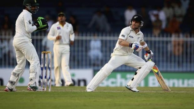 Special message: Brendon McCullum batting his way to a double century against Pakistan.